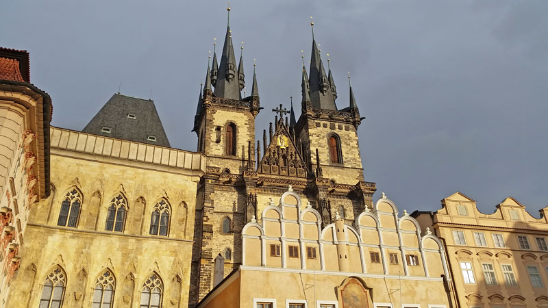 twin towers of the gothic church of our lady before tyn in prague