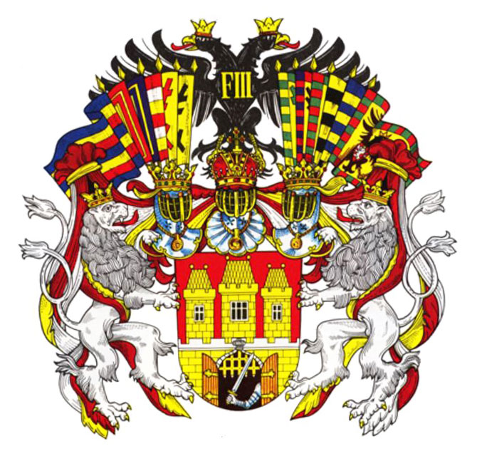 prague coat of arms during the Habsburg rule with the added arm/sword and double-headed black eagle