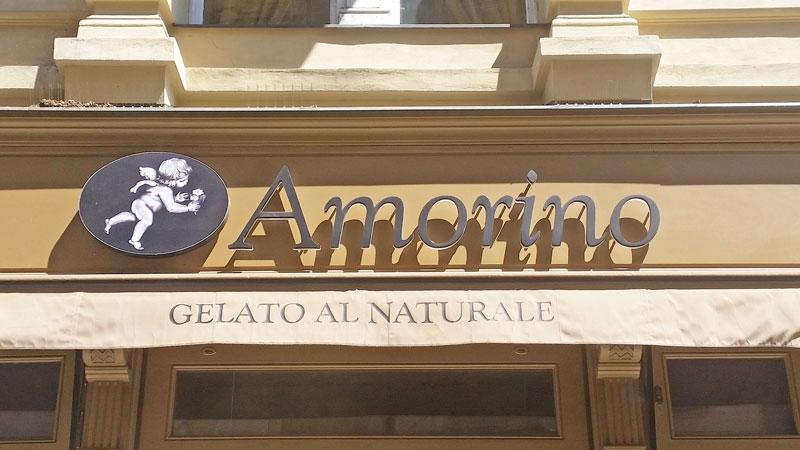 sign for amorino gelato in prague