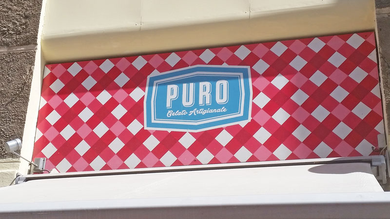 sign for puro gelato and cafe selling prague ice cream gelato