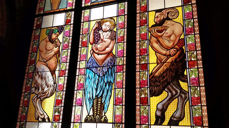 lucerna passage stained glass with greek folklore characters