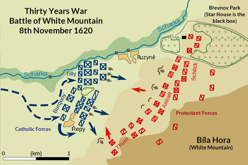 map showing dispositions and locations of opposing forces at the battle of white mountain during the thirty years war