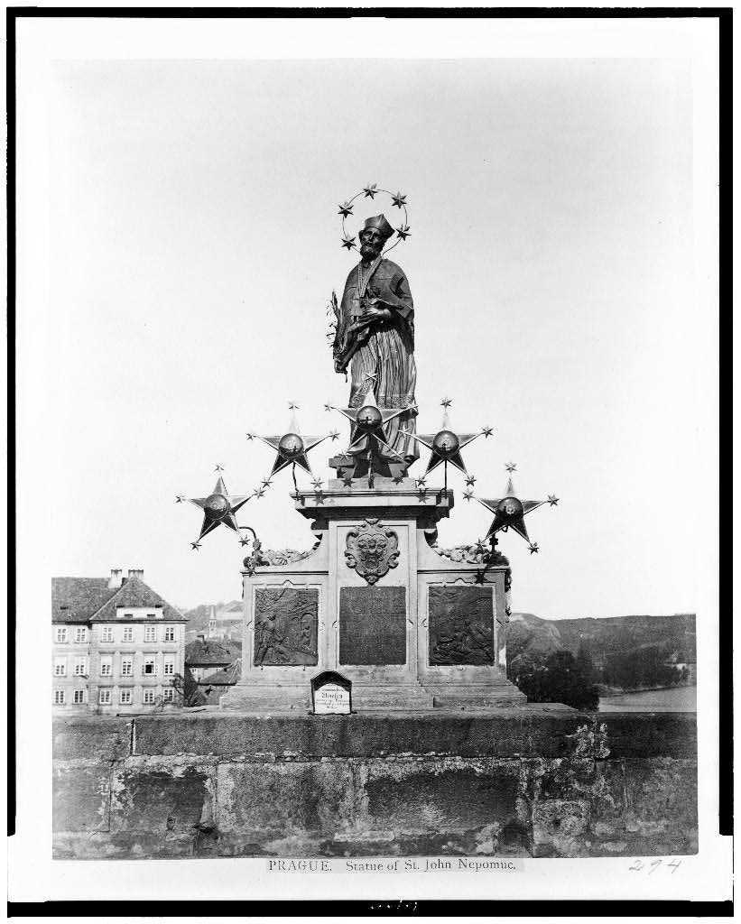 prague jan nepomuk statue in 1860 with 5 large additional stars on the pedestal