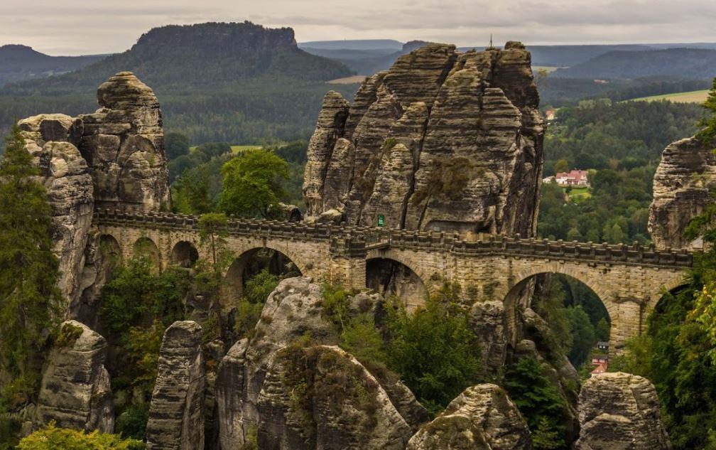 bastei bridge bastion built from local sandstone