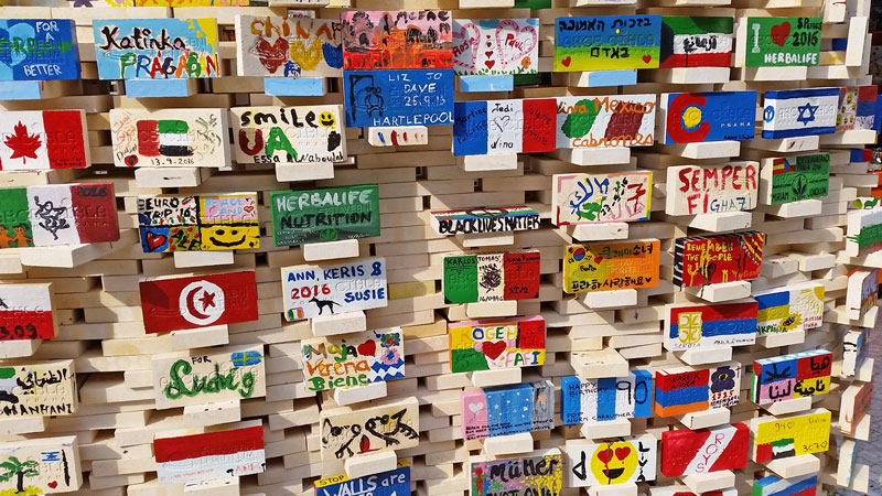 prague beneficial brick painted bricks with national flags and assorted text