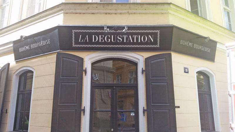 front door of la degustation restaurant in prague