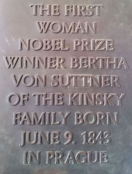 plaque at prague kinsky palace with text showing that bertha von suttner was the first nobel prize winner