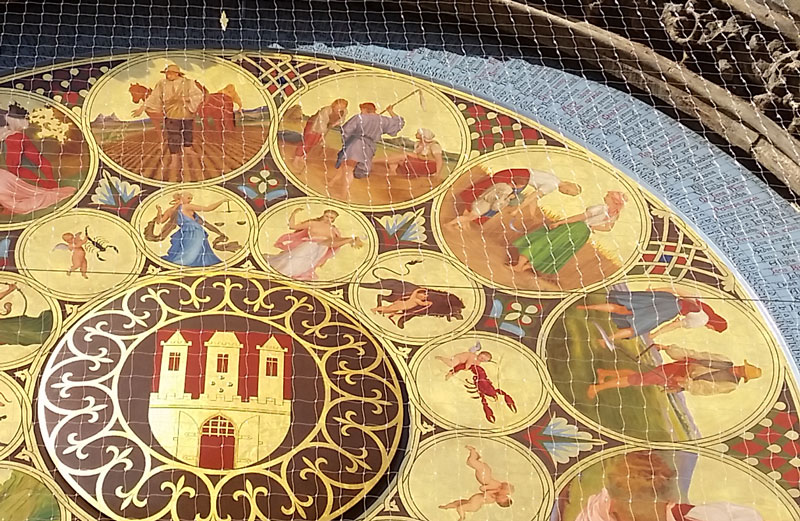 prague calendarium hand painted astrological graphics in concentric circles