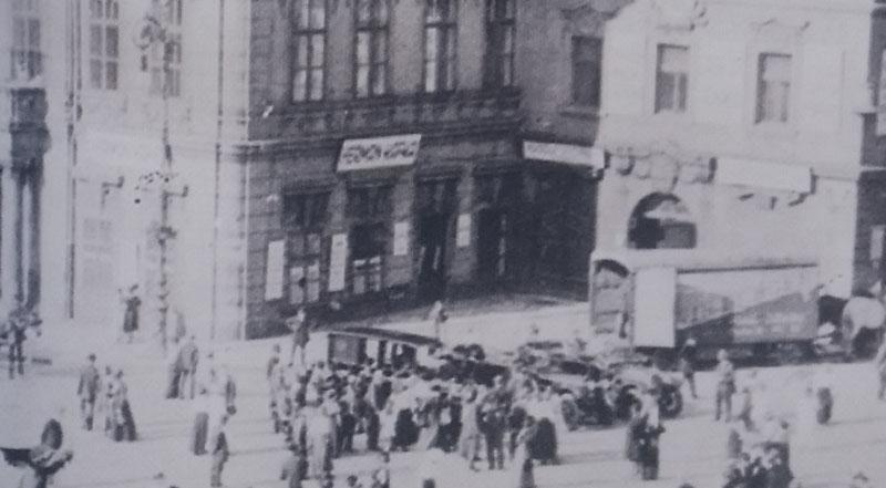 old black and white photo circa 1916 showing Herman Kafkas shop in the prague kinsky palace