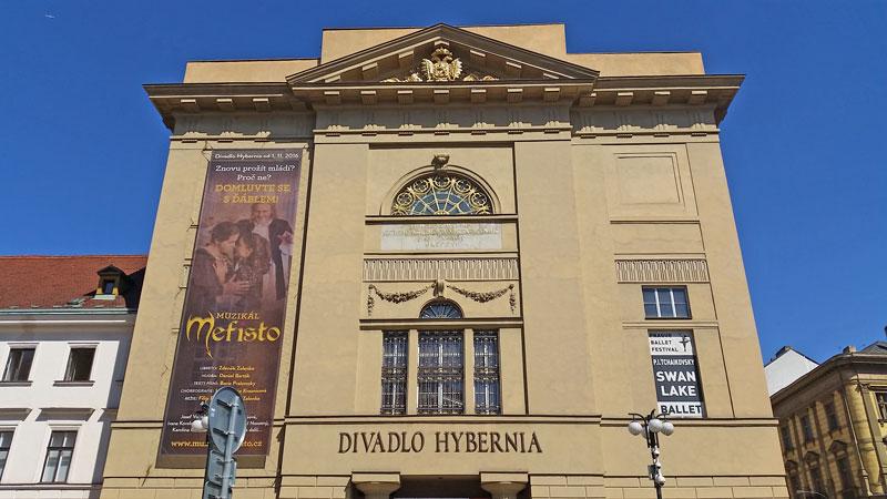 neo-renaissance facade of the hybernia theatre in prague