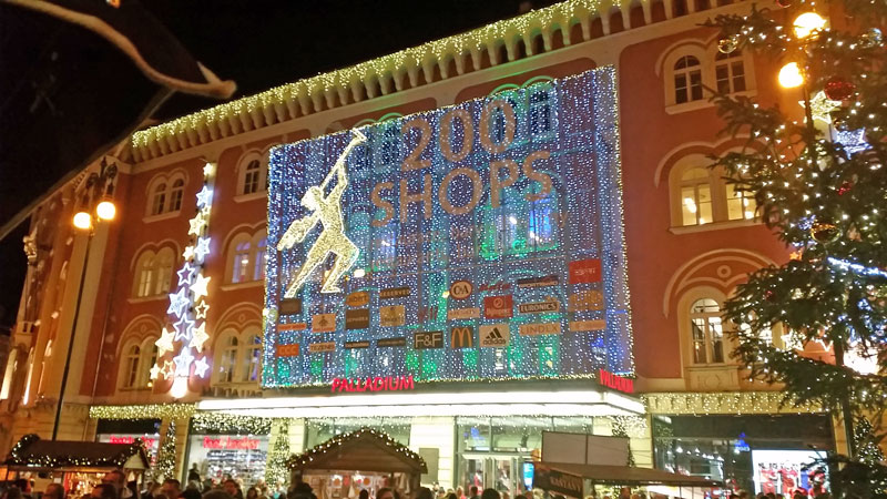 shopping centre in prague with christmas decorations