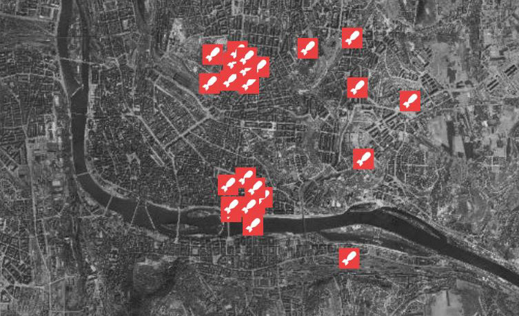 aerial map of prague showing bend in river and bomb site locations