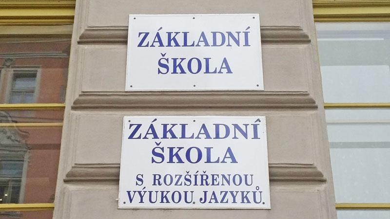 czech zakladni skola sign on a school