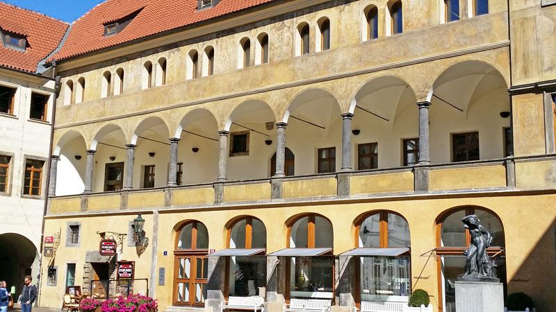 italian renaissance arcade in the prague tyn courtyard