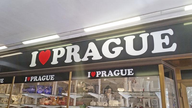 i love prague sign on a shop window
