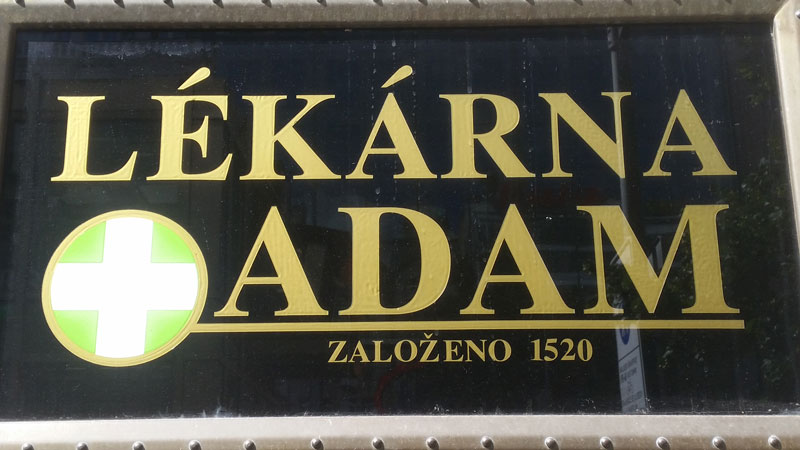 sign in czech saying adam lekarna