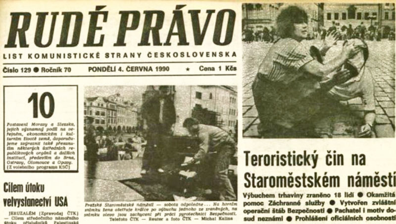 headline on the june 4th rude-pravo communist newspaper in Prague