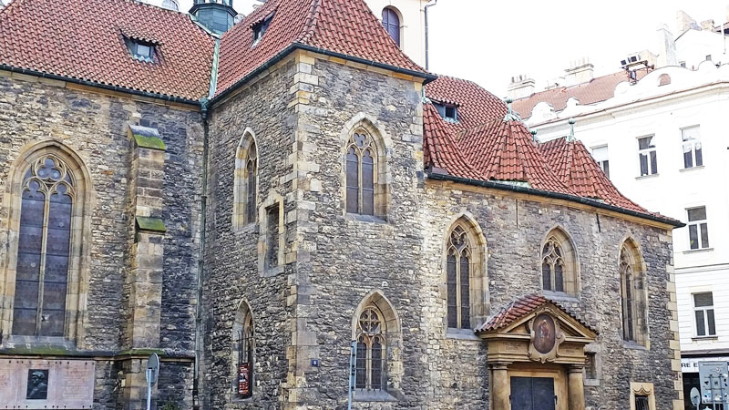 gothic church of st martin in the wall in prague