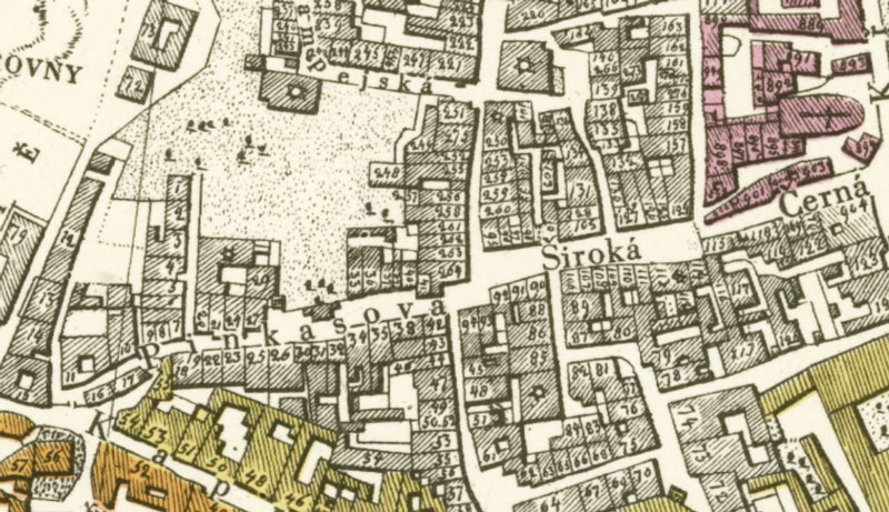 1816 map showing part of the prague jewish ghetto