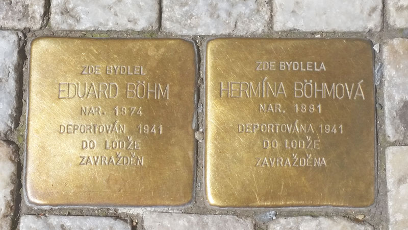 stolpersteine in prague for eduard and hermina bohm