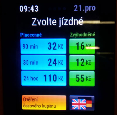 screenshot of the prague public ticket machine that gives you a prevalidated ticket