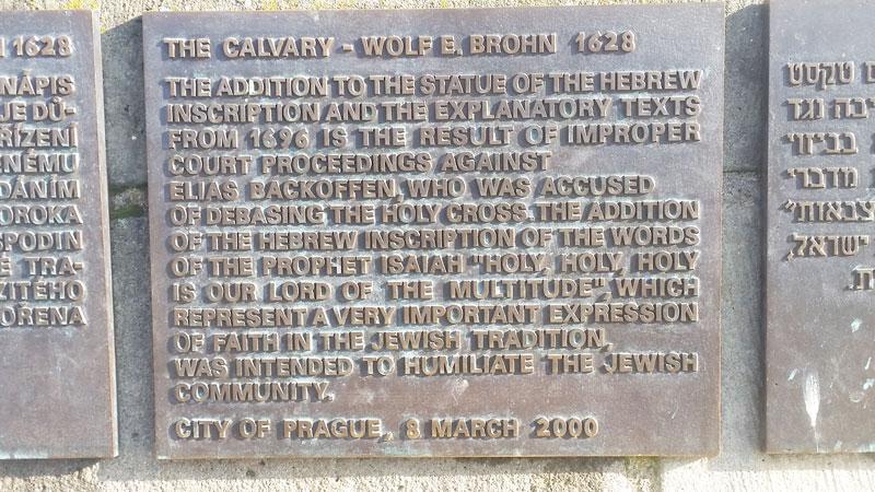 prague calvary clarification plaque in english