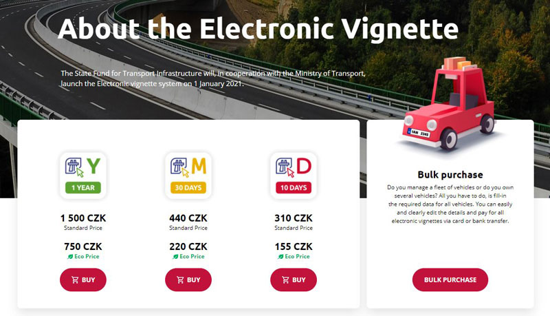 electronic czech motorway vignette portal page