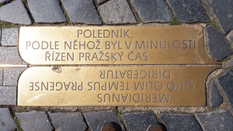 Prague Meridian marker plate in both czech and latin