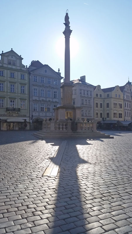 Prague Meridian with shadow of the marian column almost lined up