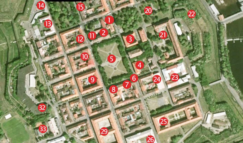 map showing numbered buildings of the terezin ghetto