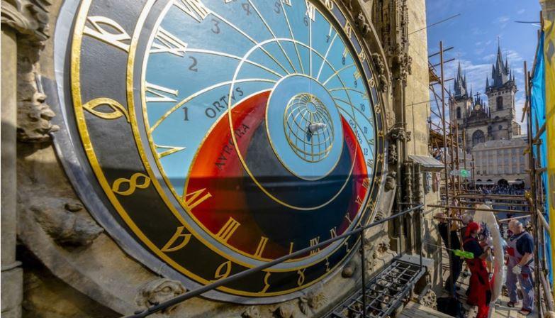 prague astronomical clock face without the mechanical parts