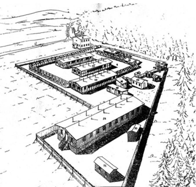 drawing of gypsy camp one in the village of lety in the czech republic