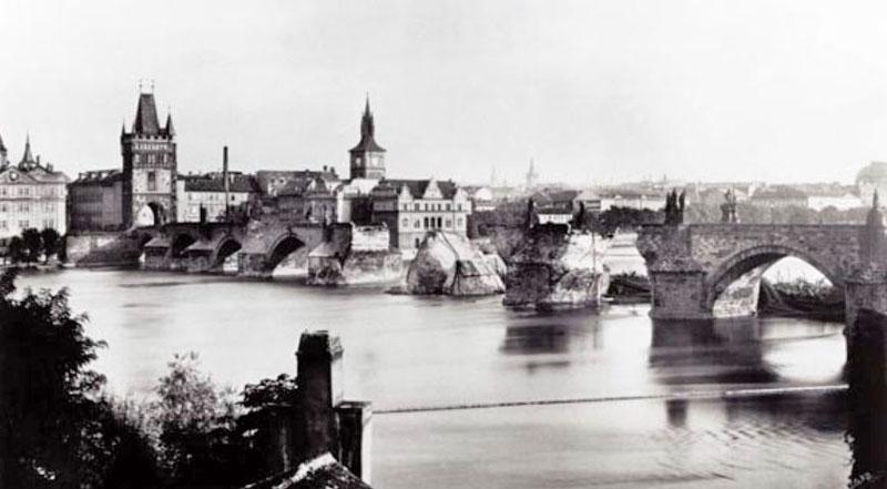 prague charles bridge on september 4th 1890 after the flood had destroyed 3 spans