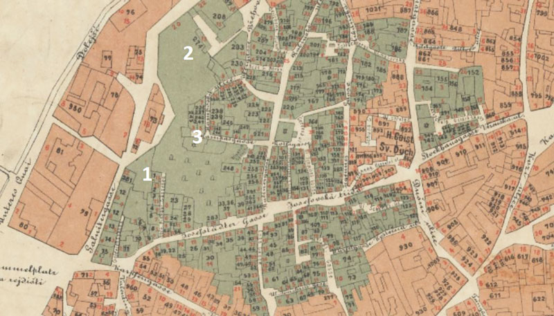 1869 map of prague showing part of the old jewish ghetto and the locations of the first three jewish ceremonial halls