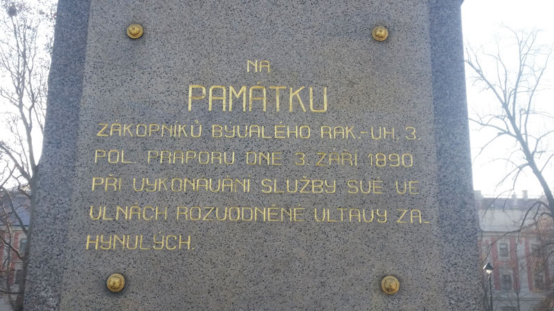 detail on the prague 1890 flood memorial to 20 soldiers killed