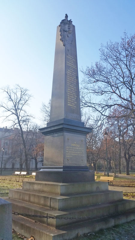 the prague 1890 flood memorial to 20 soldiers who died during the event