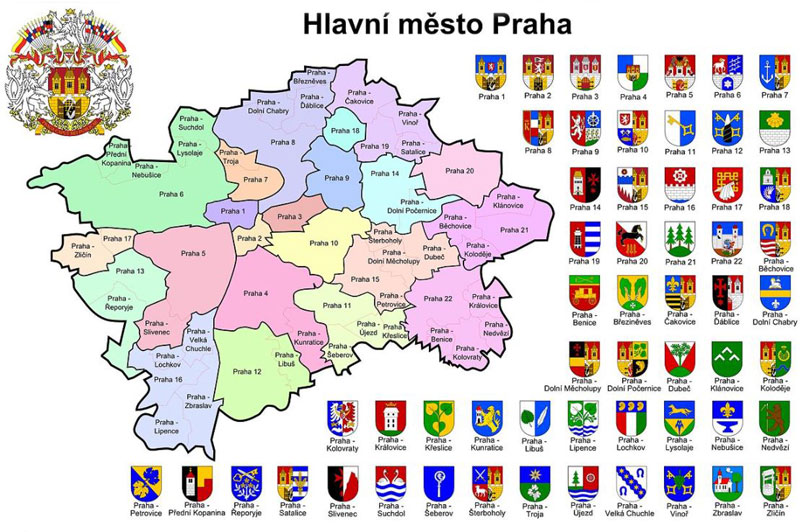map showing the prague districts and associated coats of arms