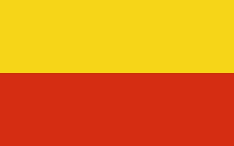 prague flag two horizontal bars gold over red