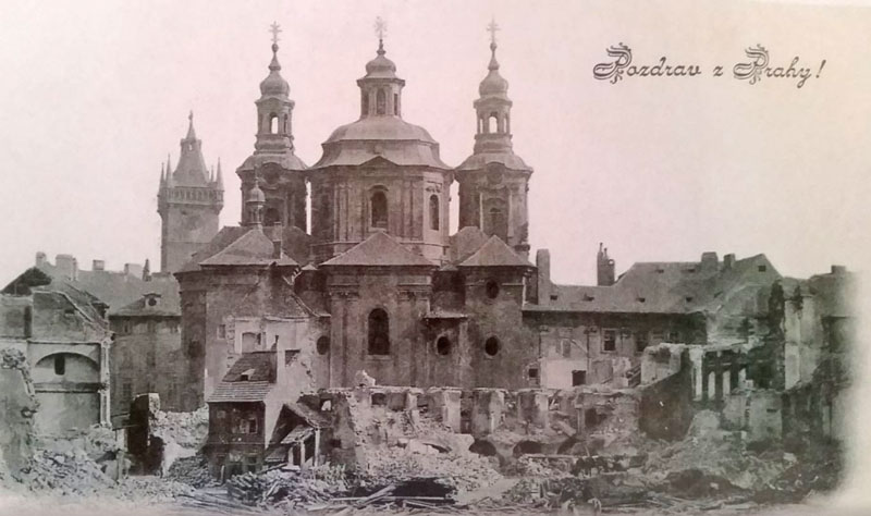 a postcard picture showing some of the prague jewish ghetto destruction