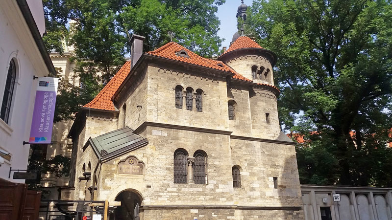 external view of the prague jewish ceremonial hall museum in josefov in neo-romanesque style