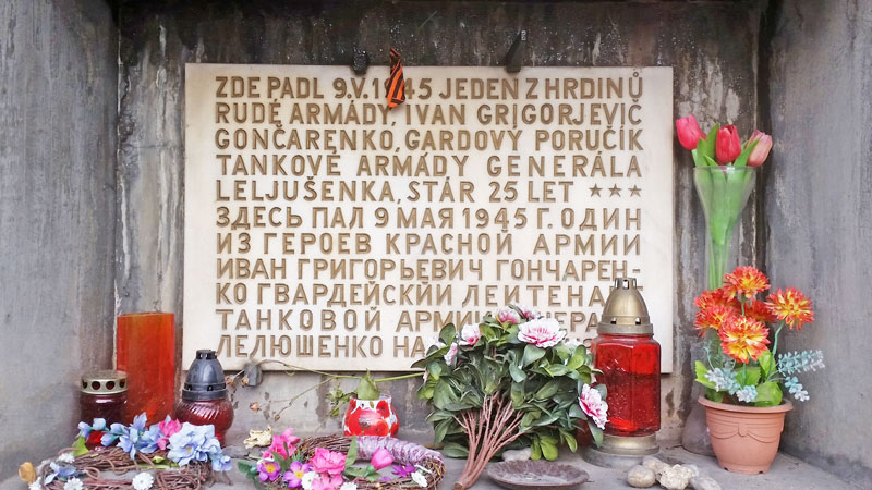 memorial plaque in prague for tank guards lieutenant ivan goncarenko of the red army