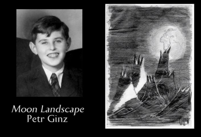 petr ginz portrait photo with moon landscape