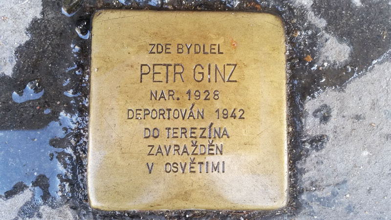 stumble stone for petr ginz in prague