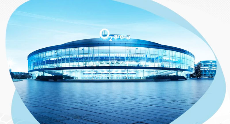 external view of the prague o2 arena in shades of blue