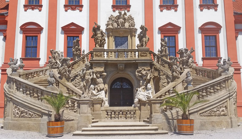 Baroque stone staircase at the rear of Prague Troja Chateau