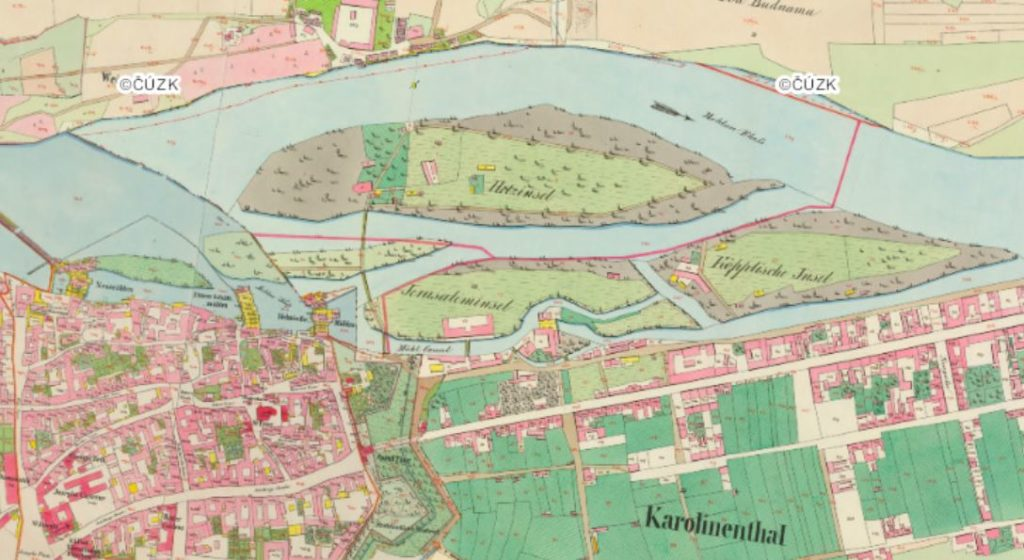 map of the prague karlin district in 1850