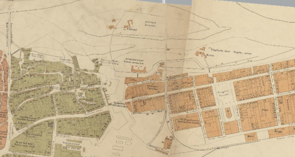 map of the prague karlin district in 1869