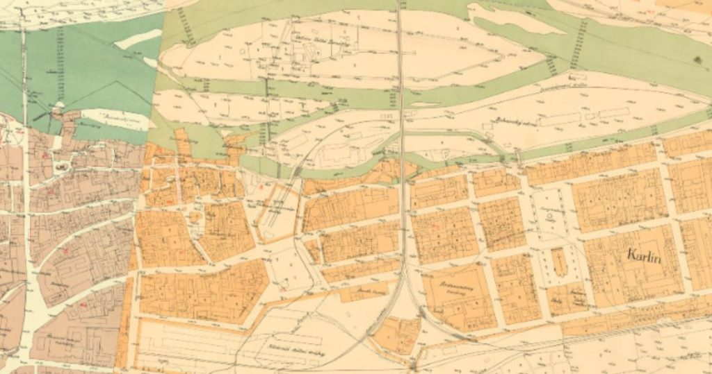 map of the prague karlin district in 1889