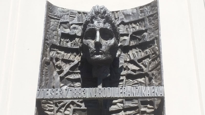 the bronze plaque in prague that marks the birthplace of franz kafka