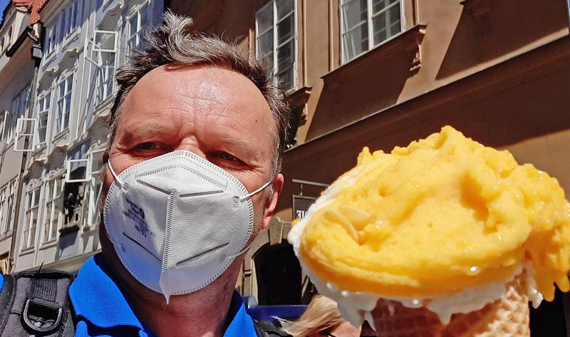 eating prague ice cream gelato during the coronavirus 2021 lockdown